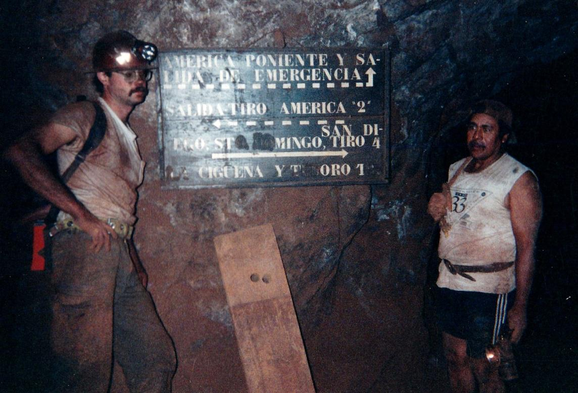Mark Kielbaso and Mario Pisena reading the road signs on our half kilometer hike from San Judas to La Compana past San Juan Poniente and following towards America Dos. 1998