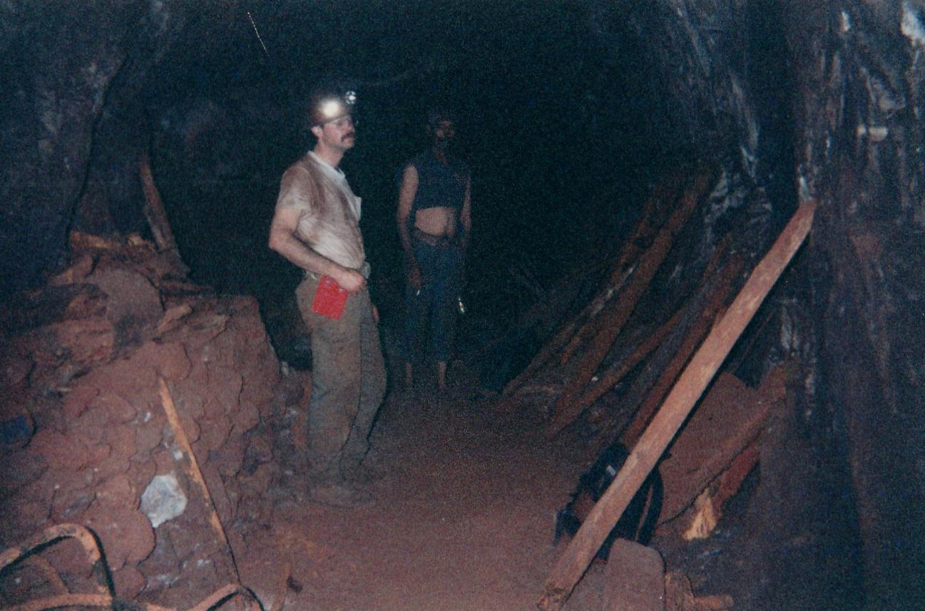 Working through the tunnels of Ojuela down to the San Judas Chimney. Mark Kielbaso(left) and Carnal(center). 1998