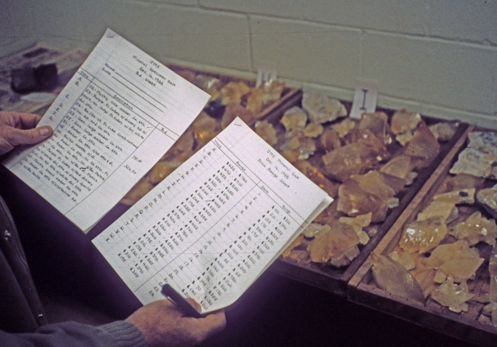 A printed out list of the Calcites and Fluorites for auction at the Elmwood Mine in Smith County, Tennessee. Photo: Rock H. Currier
