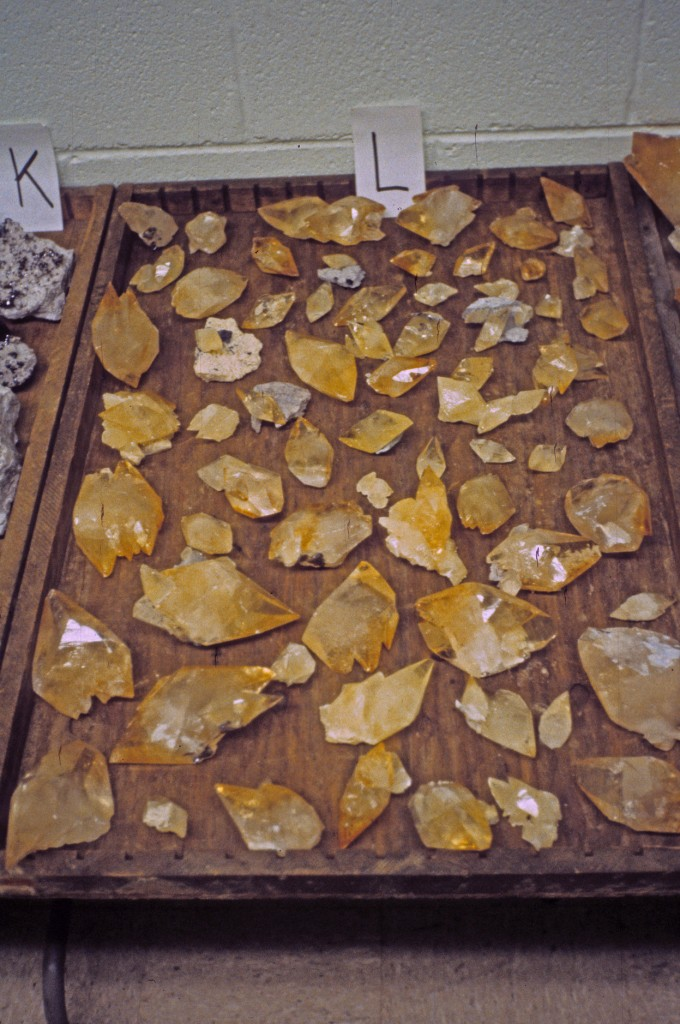 A tray full of Elmwood Mine Calcites for auction at the Elmwood Mine in Smith County, Tennessee. Photo: Rock H. Currier