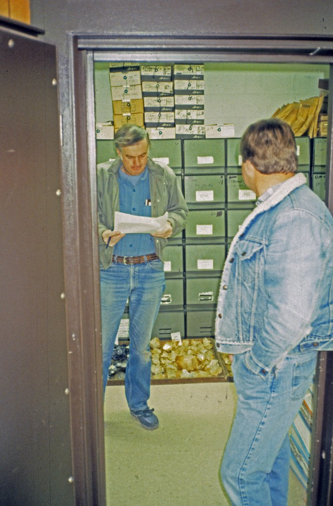 Joe Kielbaso reviewing bids of the Elmwood Mine material in the Elmwood Mine office Vault with Fred Smith watching on.  Photo: Rock H. Currier