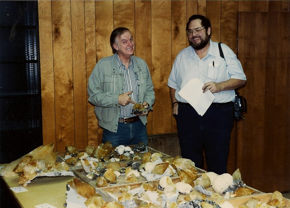 Joe Kielbaso and Rock H. Currier  happy  to have won an impressive tray of calcites. Photo: Rock H. Currier