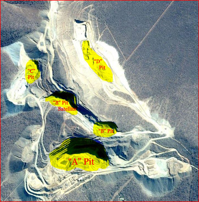 Satellite view of the Okorusu mine complex showing the different pits of ore extraction