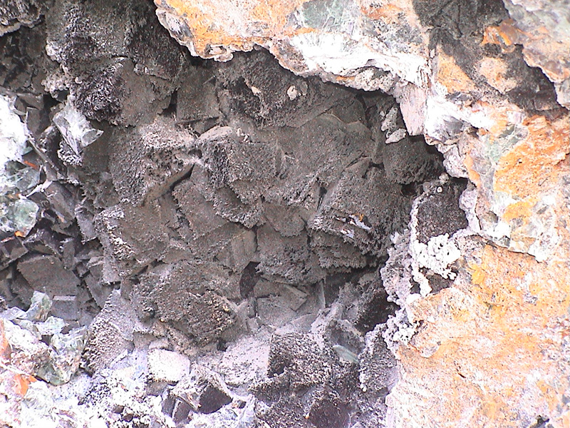 Fluorite crystals in situ at the Okorusu mine complex Namibia