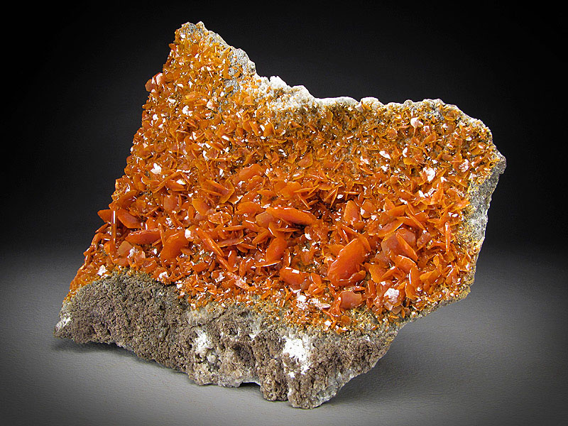 Mineral Specimen Wulfenite Crystals Orange Red Stone Crack Kuruktag Mountains Shanshan County Xinjiang Uyghur Autonomous Region China For Sale